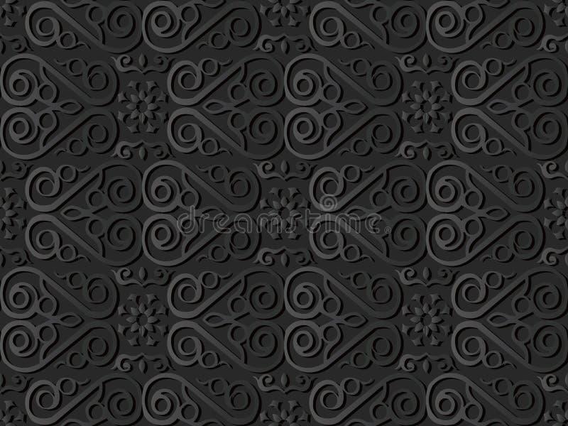 för papperskonst för mörker 3D blomma för vinranka för ram för kors för kurva för spiral för kontroll vektor illustrationer