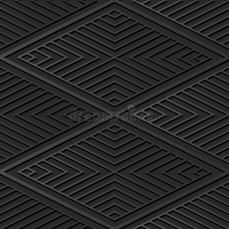 för papperskonst för mörker 3D Diamond Check Cross Vortex Frame linje royaltyfri illustrationer