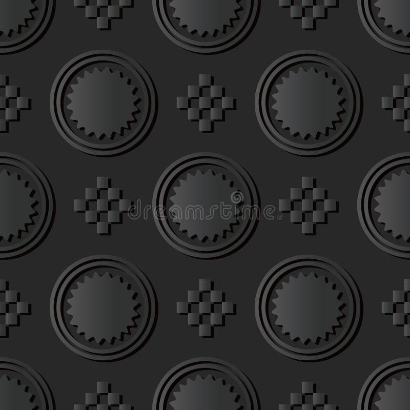 för papperskonst för mörker 3D kors för mosaik för fyrkant för kontroll för runda royaltyfri illustrationer