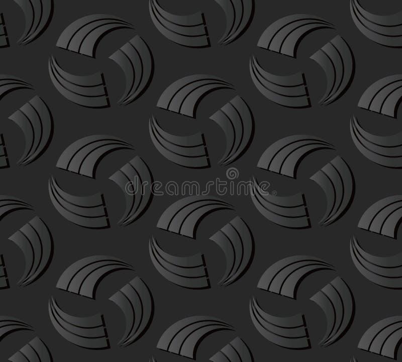 för papperskonst för mörker 3D linje för slaglängd för kors för runda för virvel för spiral stock illustrationer