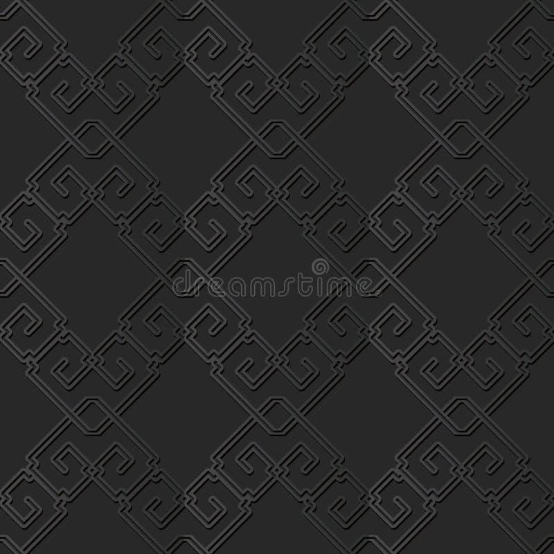 för papperskonst för mörker 3D linje för spiral för ram för kors för fyrkant för kontroll Chain vektor illustrationer