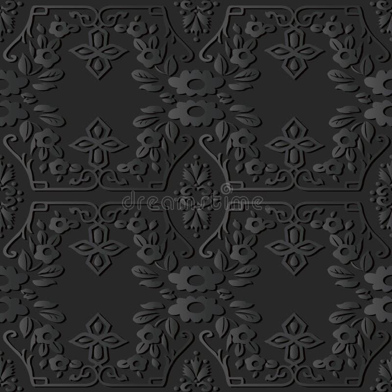 för papperskonst för mörker 3D ram för blomma för kors för spiral elegant botanisk vektor illustrationer