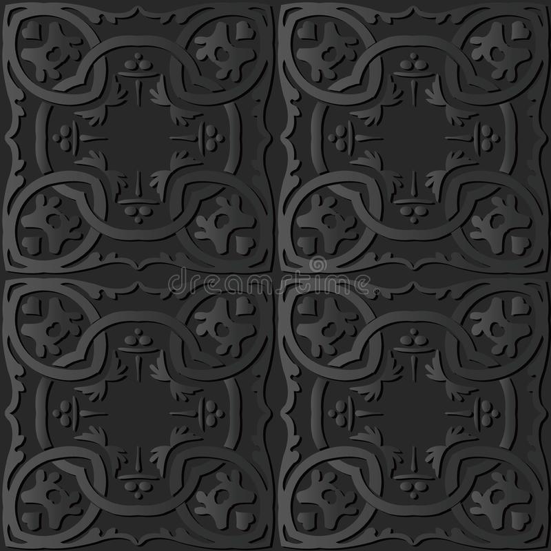 för papperskonst för mörker 3D ram P för kors för kurva för spiral för runda botanisk Chain royaltyfri illustrationer