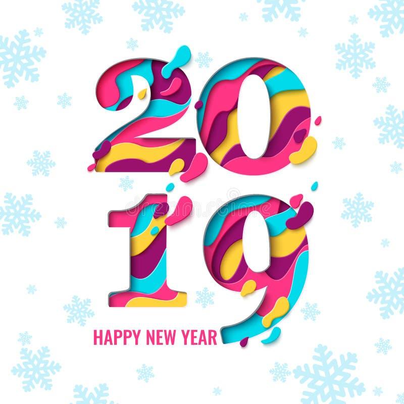 2019 för papperssnitt för lyckligt nytt år baner stock illustrationer