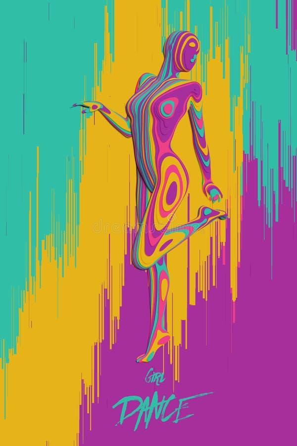 För papperssnitt för vektor färgrikt diagram för flicka för dans Den eleganta långsamma dansen poserar Begrepp av kvinnaskönhet i royaltyfri illustrationer