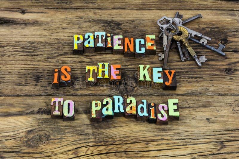 För paradisförtjänst för patiens nyckel- godhet för vänlighet för tid för mirakel arkivbilder