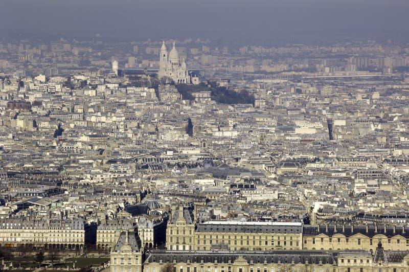 för paris för stadsfrance luftventil sikt sky royaltyfria foton