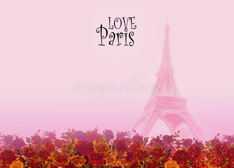 För Paris Frankrike för Eiffel torn kort förälskelse royaltyfri illustrationer
