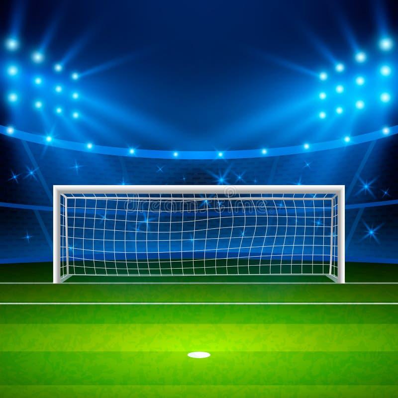 för paris för 01 stad stadion fotboll Grönt fotbollfält på stadion, arena i upplysta ljusa strålkastare för natt också vektor för royaltyfri illustrationer