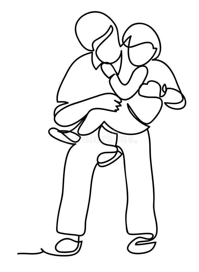 för parkson för 2008 fader fjäder Familj och livsstilbegrepp Fortlöpande linje teckning Isolerat på vitbakgrunden stock illustrationer