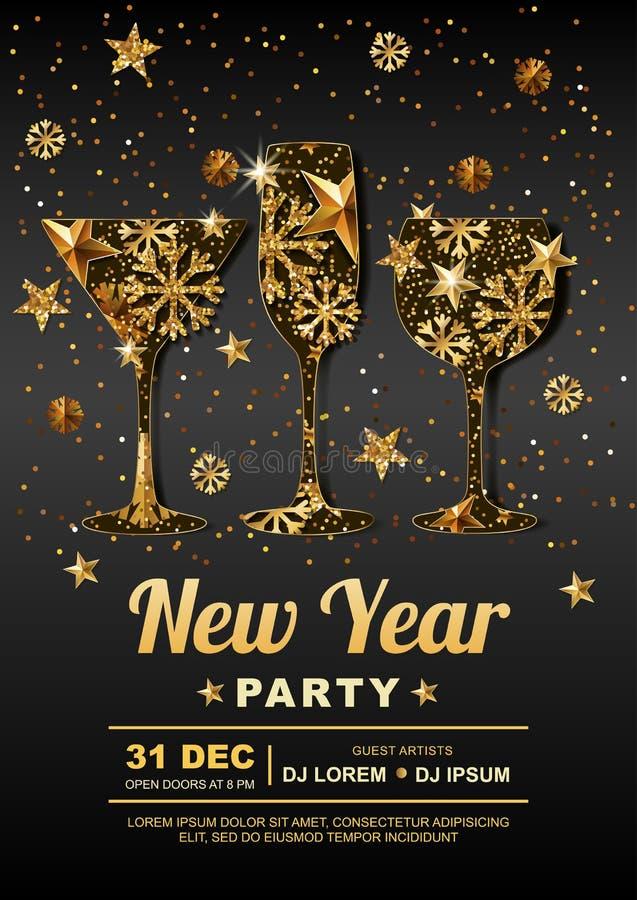 För partiaffisch för nytt år mall för design med Guld- stjärnor, snöflingor i guld som dricker exponeringsglas vektor illustrationer