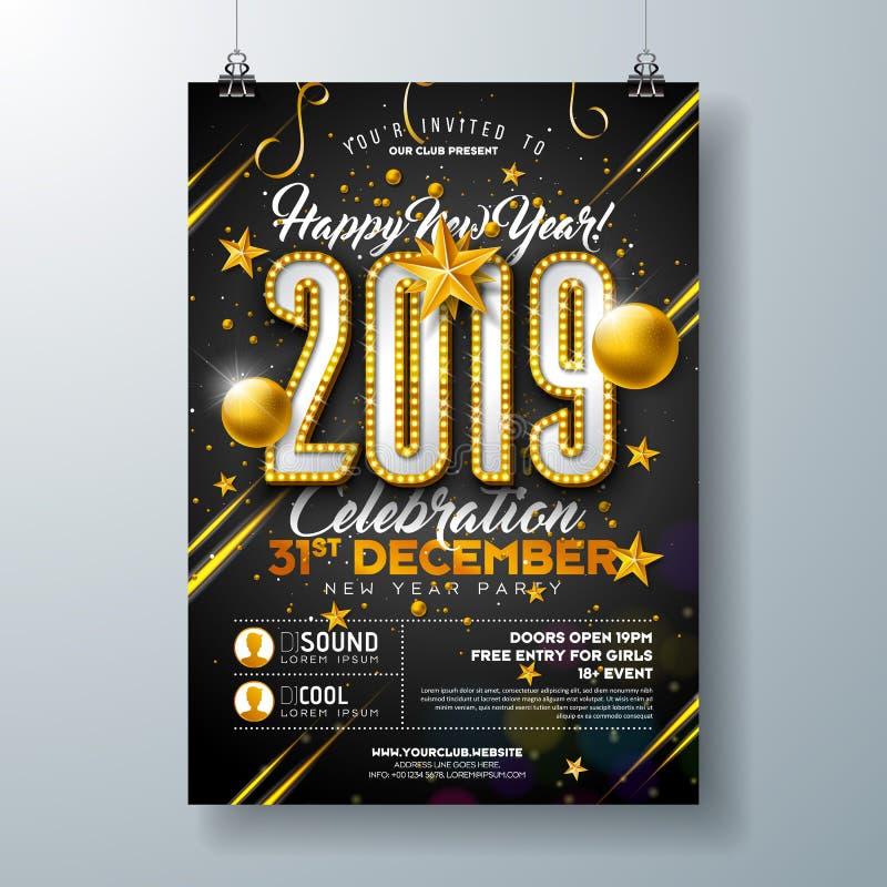 För partiberöm för nytt år 2019 illustration för mall för affisch med nummer för ljuskula och guld- julboll på svart royaltyfri illustrationer