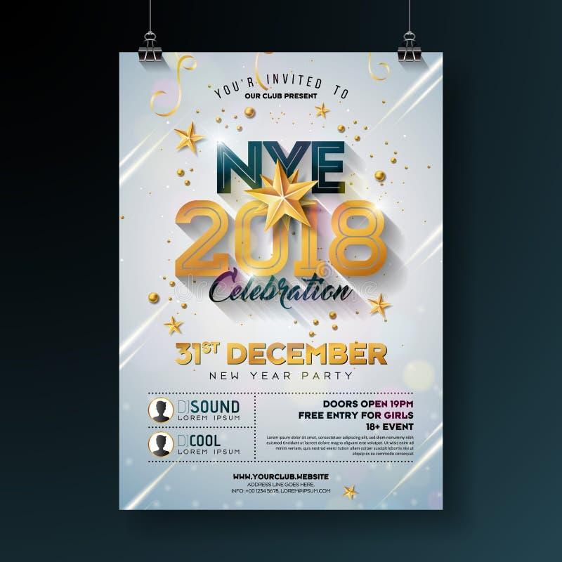 För partiberöm för nytt år 2018 illustration för mall för affisch med skinande guld- nummer på vit bakgrund Vektorferie royaltyfri illustrationer