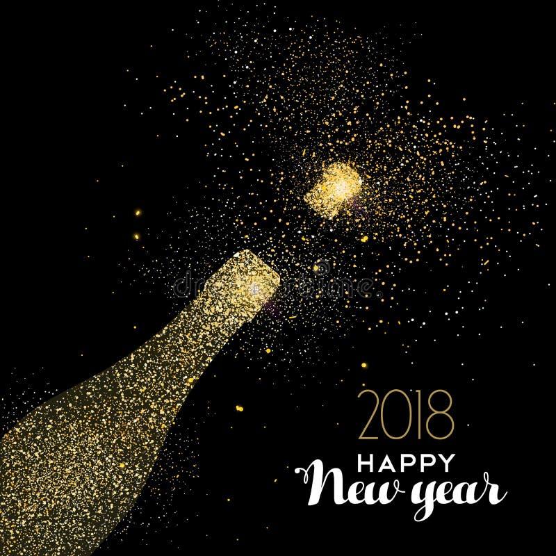 För partidrinken för det lyckliga nya året guld blänker dammkortet royaltyfri illustrationer