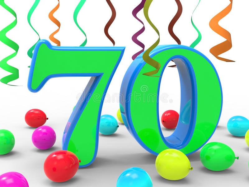 För partihjälpmedel för nummer sjuttio födelsedag för överraskning stock illustrationer