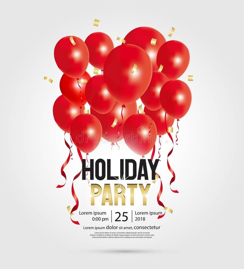 För partiinbjudan för lyckligt nytt år reklamblad och mall för hälsningkort stock illustrationer