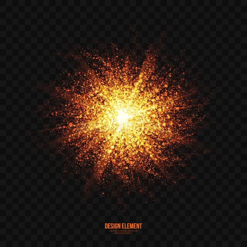 För partikelexplosion för vektor glödande guld- beståndsdel för design för effekt royaltyfri illustrationer