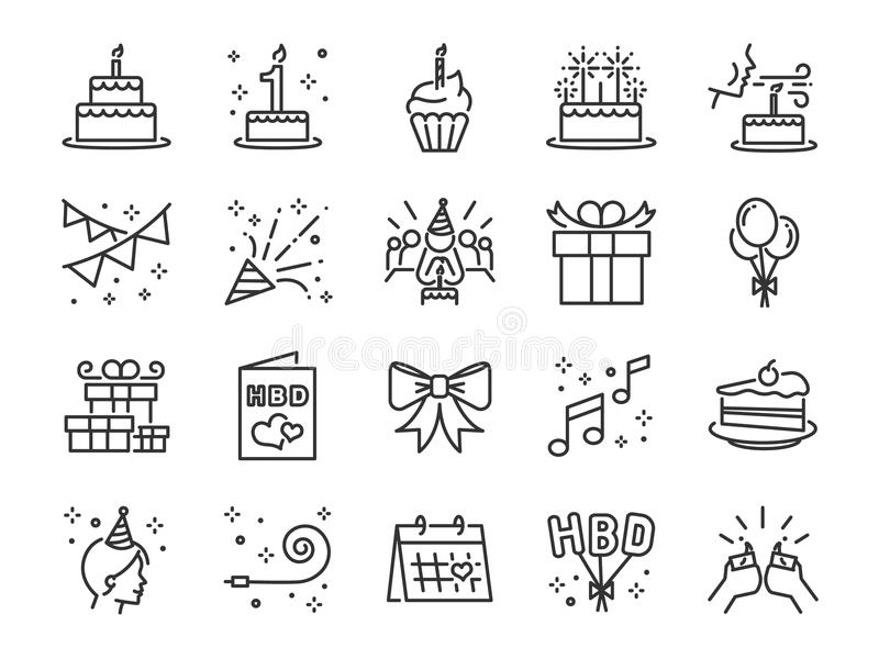 För partilinjesymbol för lycklig födelsedag uppsättning Inklusive symbolerna som beröm, årsdag, parti, lyckönskan, kaka, gåva, ga royaltyfri illustrationer
