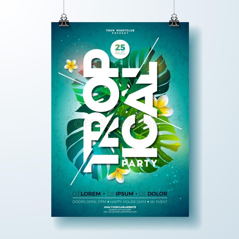 För partireklamblad för vektor tropisk design med blomman och tropiska växter på blå bakgrund Blom- beståndsdelar för sommarnatur stock illustrationer