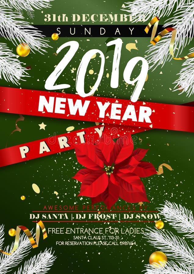 För partivektorn för nytt år 2019 den guld- julgranen för affischen för inbjudan blänker konfettier royaltyfri illustrationer