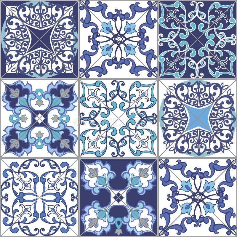 För patchworkmodell för samling sömlösa tegelplattor från Marocko, Portugal i blåa färger vektor illustrationer