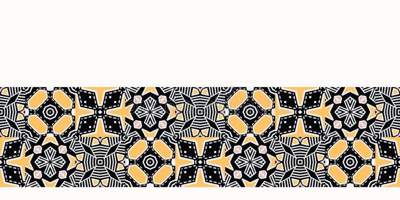 För patchworktäcke för djärv hand utdragen geo Sömlös bakgrund för vektorgränsmodell Geometrisk abstrakt illustration för symmetr stock illustrationer