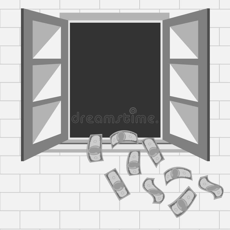 för pengar fönster ut royaltyfri illustrationer
