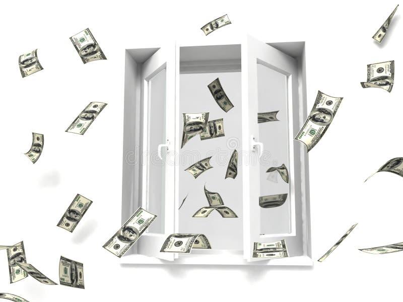 för pengar fönster ut stock illustrationer