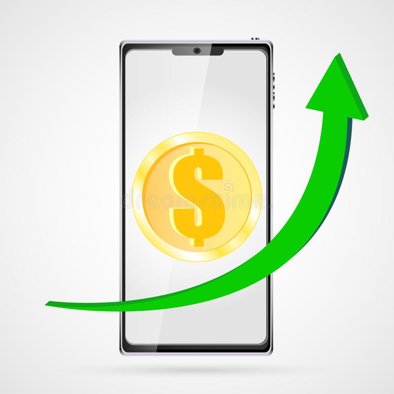 För pengarmynt för guld rund dollar och växande diagram med en grön pil uppåt på en svart smart mobiltelefonsmartphone royaltyfri illustrationer