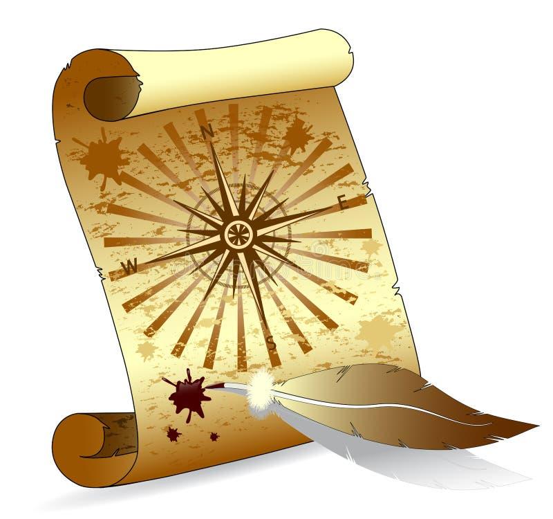 för pennscroll för fjäder paper vektor royaltyfri illustrationer