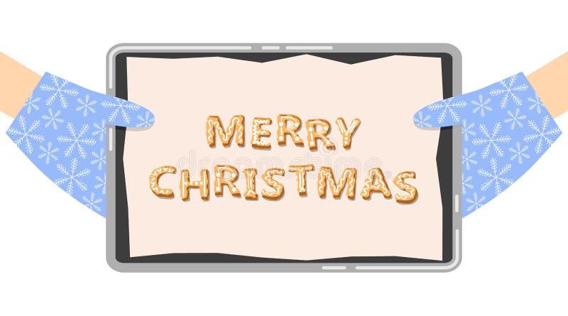 För pepparkakakaka för glad jul illustration för vektor för text vektor illustrationer