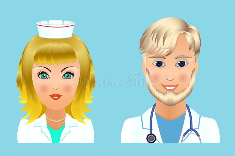 För personallägenhet för medicinsk klinik avatars av doktorer, sjuksköterskor, kirurg, a stock illustrationer
