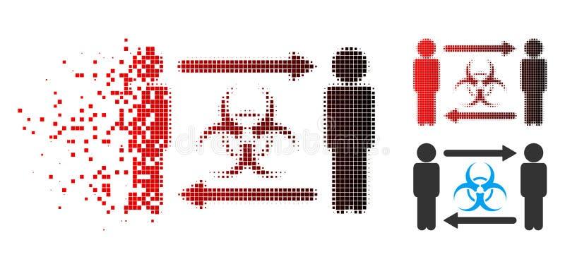 För personinfektion för splittrat PIXEL rastrerad symbol för utbyte royaltyfri illustrationer