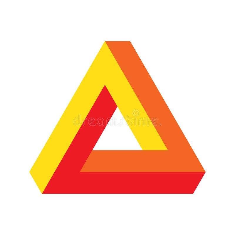 För perspektivillusion för vektor optisk illustration: Penrose triangel, välkänt omöjligt diagram eller oändlig form stock illustrationer
