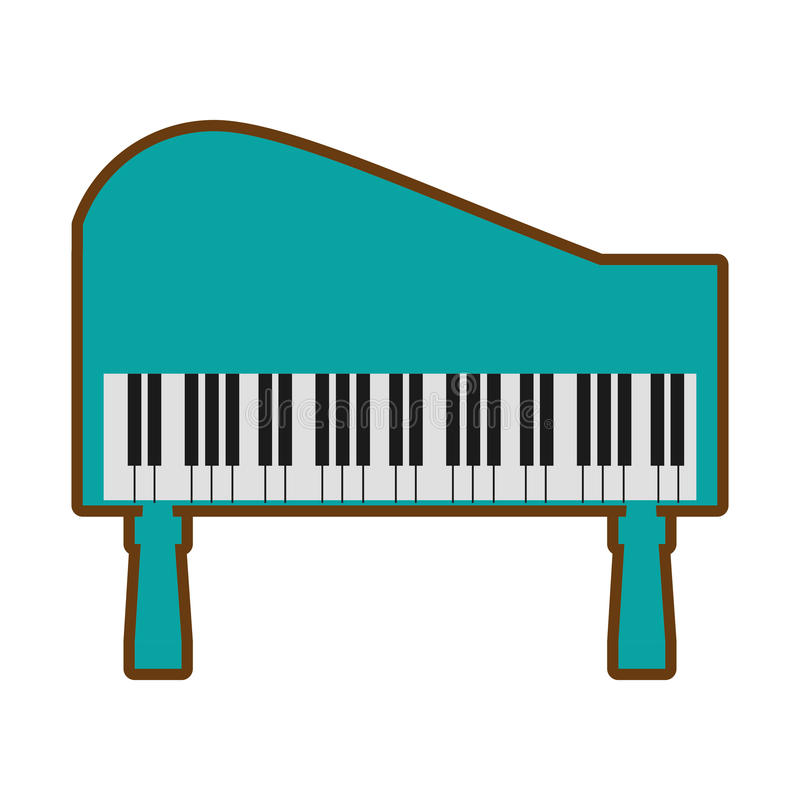 för pianotangentbord för tecknad film grön musik för instrument stock illustrationer