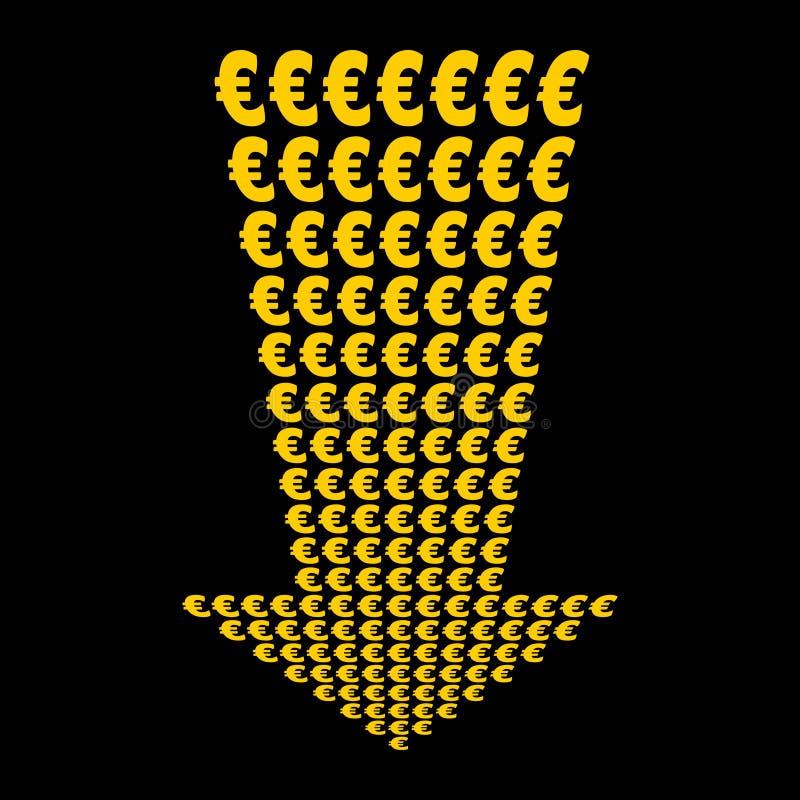 för pil eurossymbol ner stock illustrationer