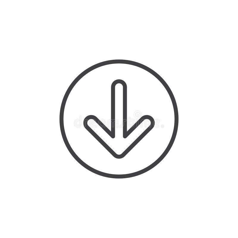 För pil rund linje symbol ner Runt enkelt tecken royaltyfri illustrationer