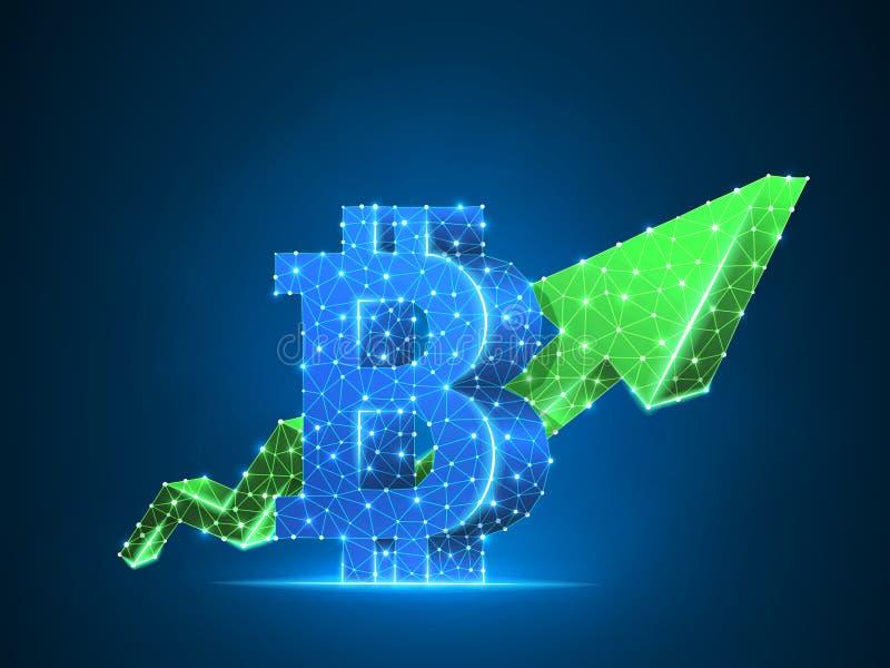 För pilBitcoin för tillväxt låg poly affär för grön diagram 3d cryptocurrency för vektor polygonal, framgång, kassa, finansbegrep royaltyfri illustrationer