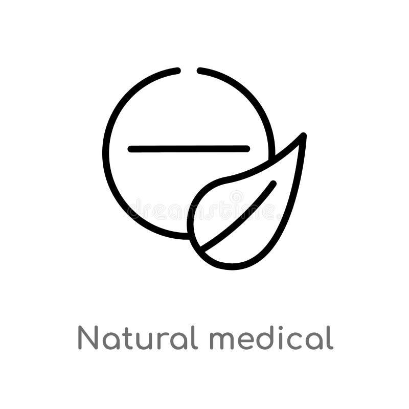 för pillervektor för översikt naturlig medicinsk symbol isolerad svart enkel linje beståndsdelillustration från naturbegrepp Redi vektor illustrationer