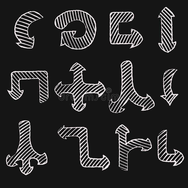 För pilsymboler för vektor hand dragen uppsättning stock illustrationer