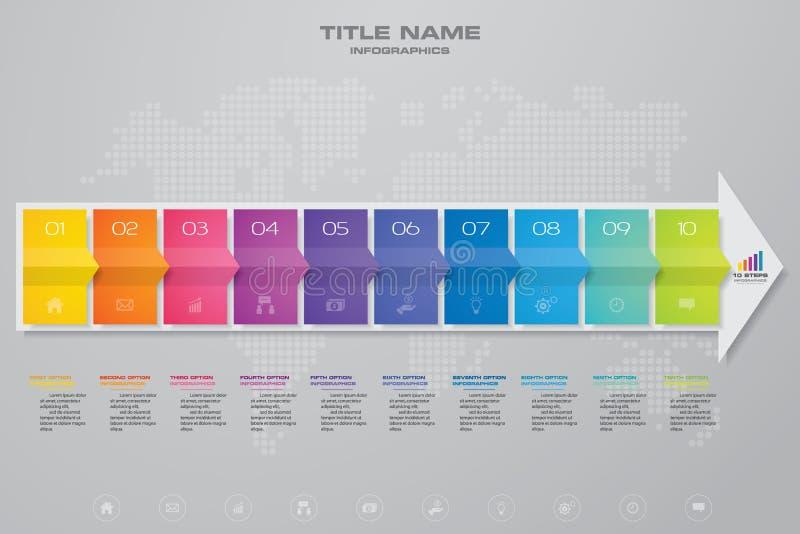 för piltimeline för 10 moment infographic beståndsdel 10 eps royaltyfri illustrationer