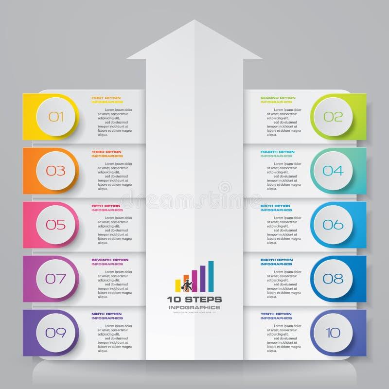 för piltimeline för 10 moment infographic beståndsdel 10 infographic moment stock illustrationer