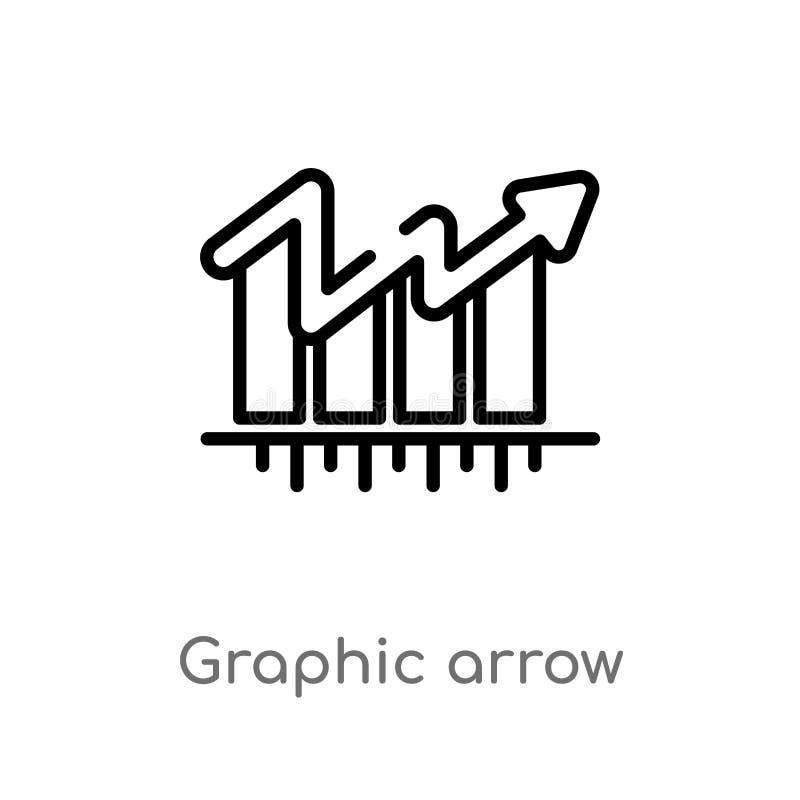 för pilvektor för översikt grafisk symbol isolerad svart enkel linje beståndsdelillustration från affärsidé Redigerbar vektorslag vektor illustrationer