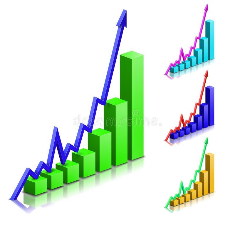 För pilvektor för affär positiv graf stock illustrationer