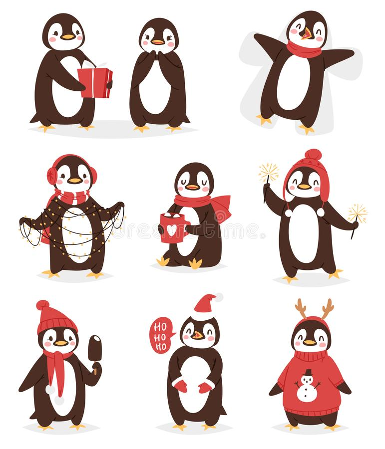 För pingvinvektorn för jul poserar det gulliga teckenet tecknad film somfågeln firar Xmas - spela, flugan och det lyckliga pingvi vektor illustrationer
