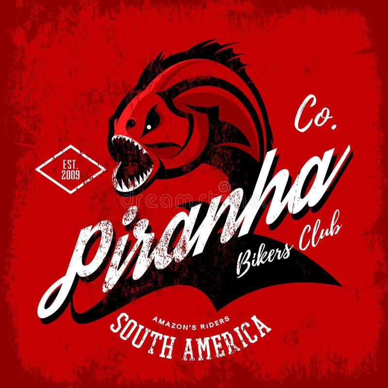 För piranhacyklister för tappning amerikansk rasande design för vektor för tryck för utslagsplats för klubba på svart bakgrund stock illustrationer