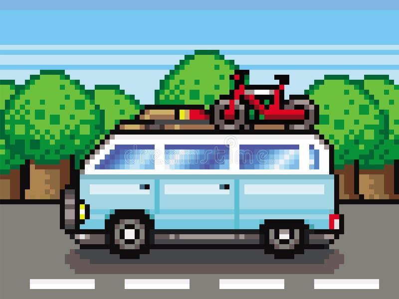 För pixel-konst för ferier för bil för sommar för familjvägtur vektor stil vektor illustrationer