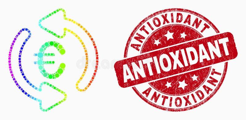 För Pixelated för vektor spektral- uppdatering för euro för symbol och Antioxidant stämpelskyddsremsa för Grunge vektor illustrationer