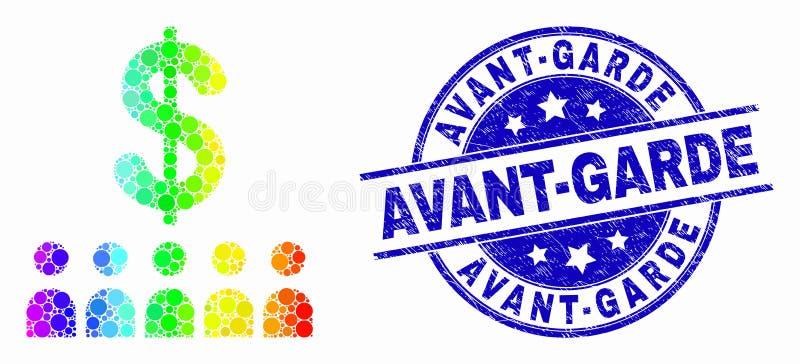 För PIXELbank för vektor ljus symbol för klienter och Grungeavantgardestämpel royaltyfri illustrationer