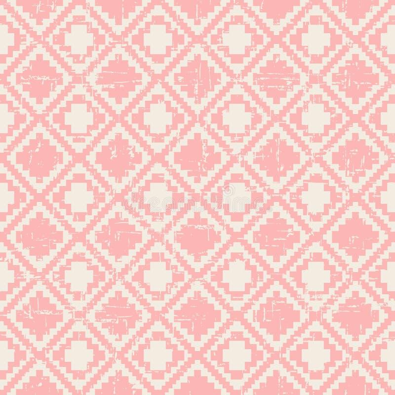 För PIXELdiamant för sömlös sliten ut tappning rosa bakgrund för modell för kontroll royaltyfri illustrationer